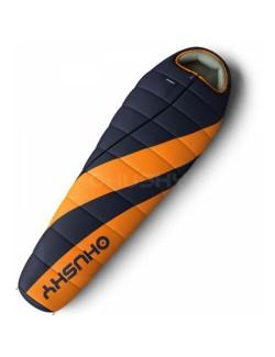 Husky mummyslaapzak Enjoy Long 230 cm - Oranje-Grijsblauw