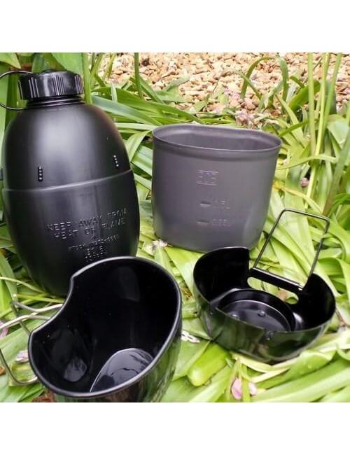 Bushcraft kooksysteem met waterfles Multi-fuel - Zwart