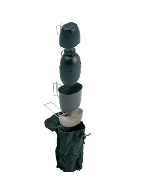 Bushcraft cooking with water bottle Multi-fuel (silver cooker) Black