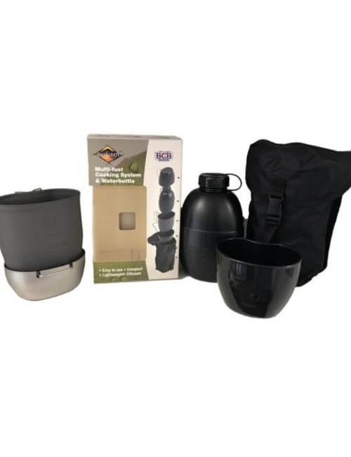 Bushcraft kooksysteem met waterfles Multi-fuel (zilveren cooker) Zwart