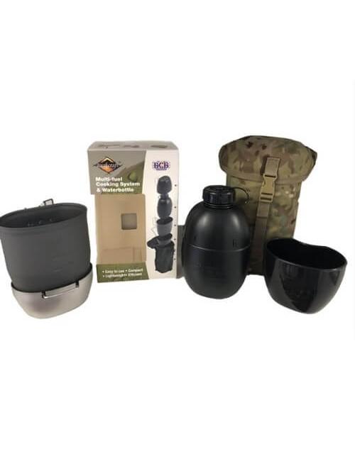 Bushcraft kooksysteem met waterfles Multi-fuel (zilveren cooker)Groen