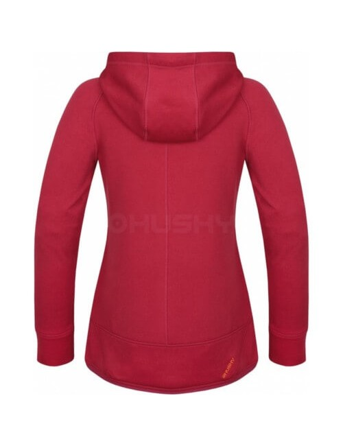 The Husky t-shirt Adera with a retractable hood and a zip - Dark-Pink -