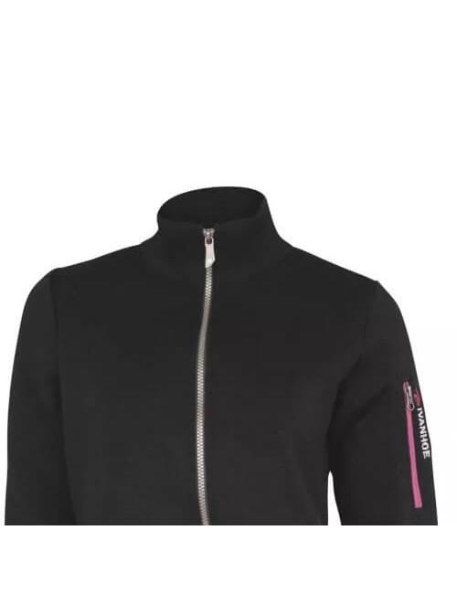 Ivanhoe giacca a vento Flisan WB Nero con cerniera in lana merino - Nero