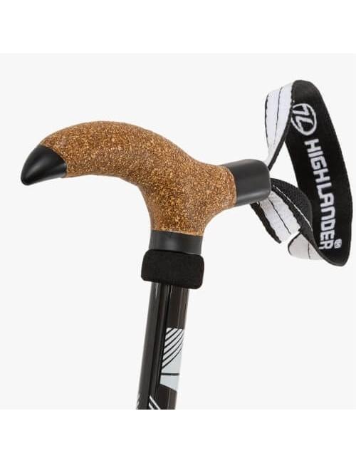 Highlander bastón (único) de la Isla de Arran - T-estilo empuñadura de corcho -Negro