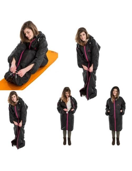 Bergstop slaapzak en jas in een Cozybag Classic - Zwart met Roze