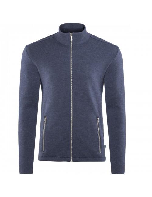 Ivanhoe giacca a vento Assar WB in Acciaio Blu con cerniera in lana merino - Blu
