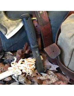 Mora survivalmes Garberg zwart carbon met lederen schede - Zwart