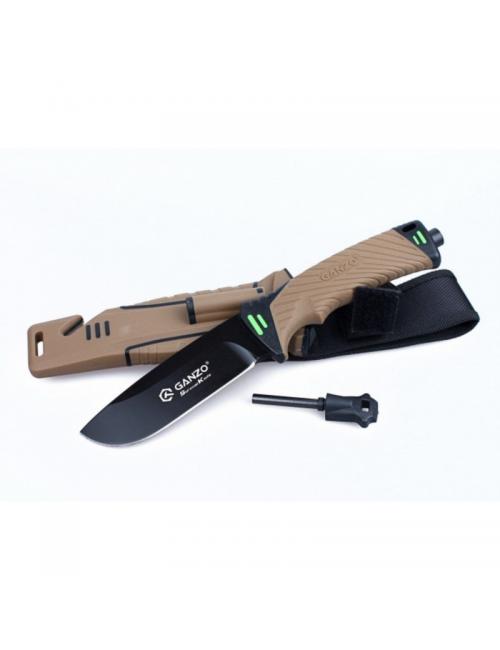 Ganzo survivalmes G8012-DY cuchilla fija - Negro