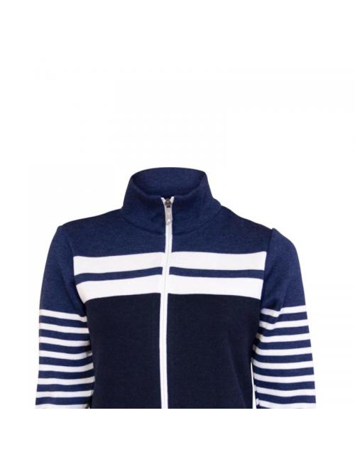 Ivanhoe suéter de manga larga chaqueta de Venla de las mujeres de lana de merino Azul