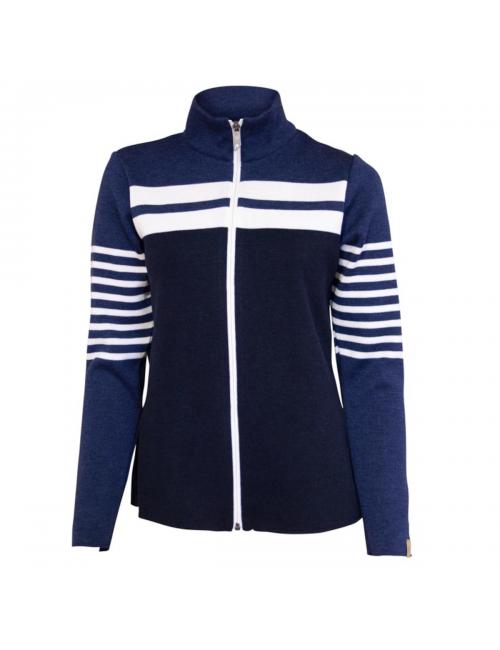 Ivanhoe Pullover, long sleeve cardigan Venla Damen merino-Wolle - Blau