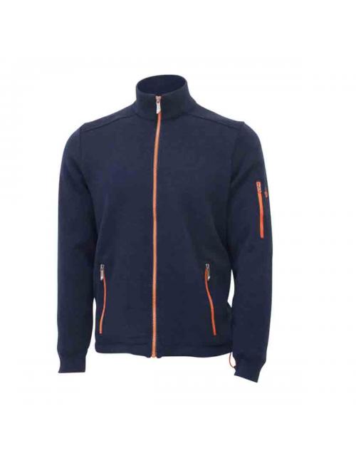 They cardigan Assar FZ Windbreaker-Navy - fine merino wool - Dark blue
