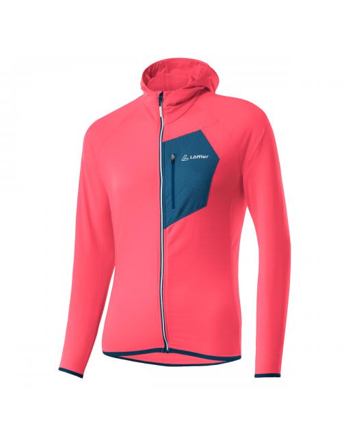 Loeffler's shirt long sleeve shirt women W Hoodie FZ TechFleece Sunrize - Pink