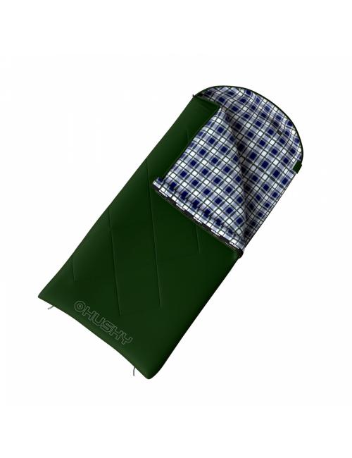 Husky slaapzak dekenmodel Gary -5°C 220 x 90 cm met flanel - Groen