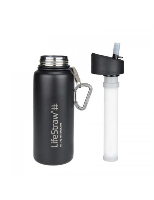 LifeStraw waterfilter bottle acero inoxidable aislado acero inoxidable 710 ml-Negro