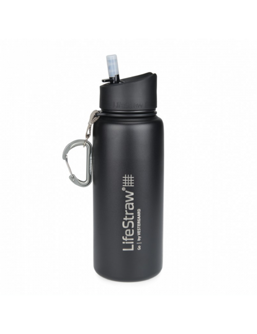LifeStraw waterfilter bottle stainless Steel insulated stainless steel 710 ml -Black