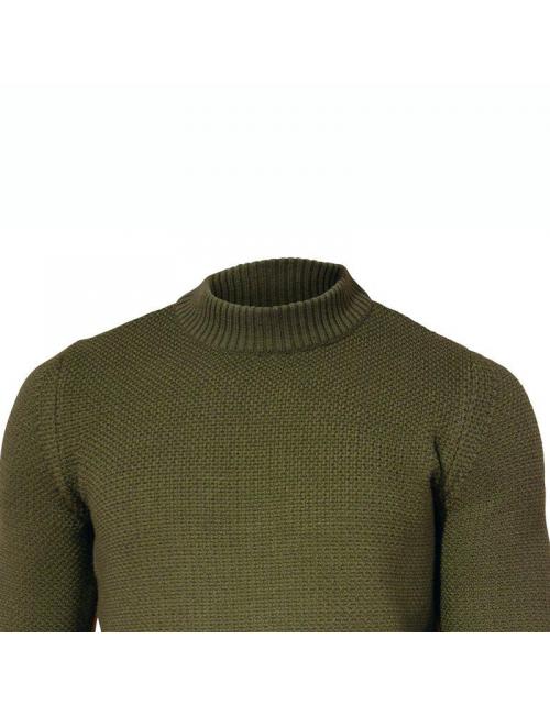 Jersey Ivanhoe ECO Ash cuello redondo-100% lana merino orgánica-Verde