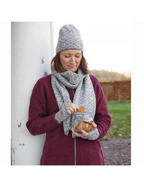 Bufanda de punto de lana Ivanhoe Freya LichenGreen21 - talla única 185x27-Verde
