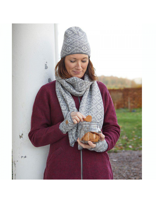 Ivanhoe wool knitted scarf Freya LichenGreen21-one Size 185x27-Green