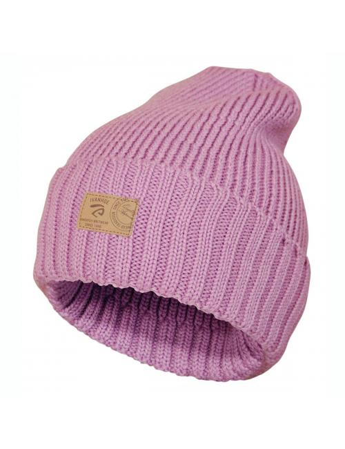 Bonnet en maille côtelée Ivanhoe en laine Ipsum Sweet Lilas-Taille unique-rose