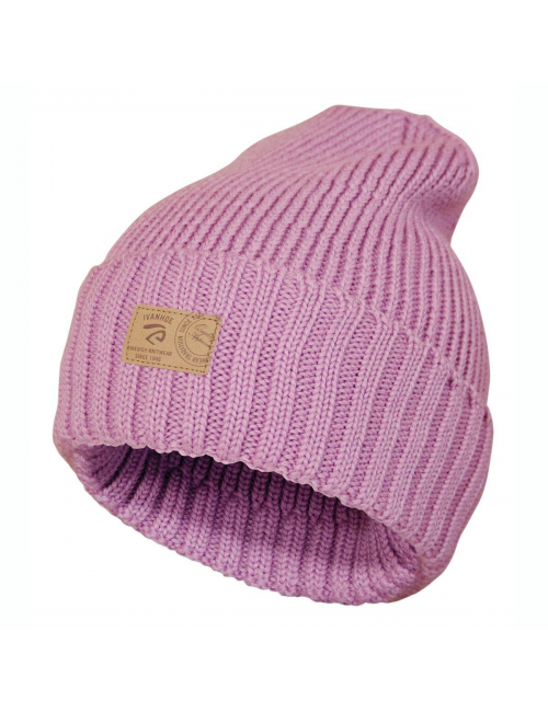 Ivanhoe rib knitted hat in wool Ipsum Sweet Lilac - one Size - pink
