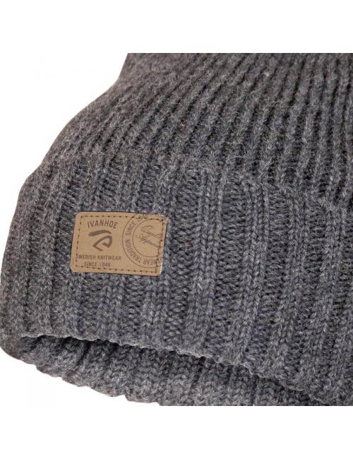 Ivanhoe Rippstrickmütze aus Wolle Ipsum Graphit Mergel-Einheitsgröße-Grau