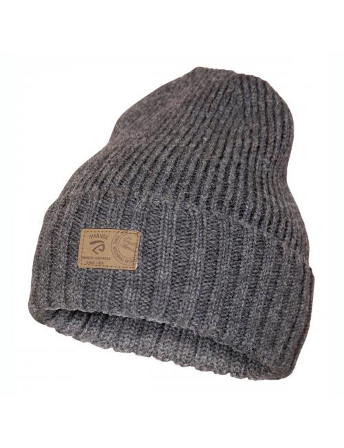 Bonnet en maille côtelée Ivanhoe en laine Ipsum Graphite Marl - Taille unique-Gris