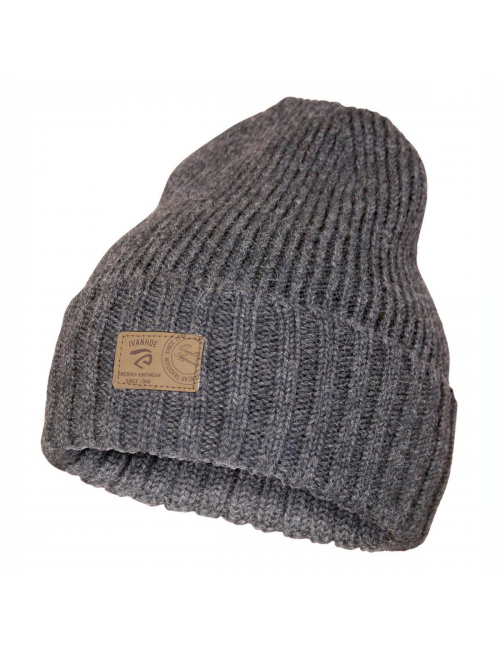 Ivanhoe rib knitted hat in wool Ipsum Graphite Marl - one Size - Grey